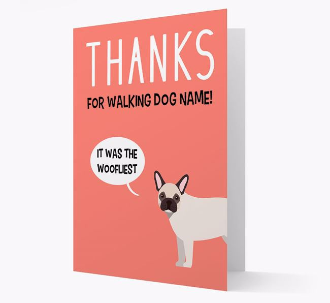 'Thanks for the Woofliest Walks' Card with French Bulldog Icon