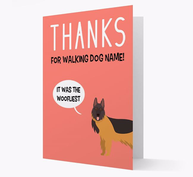 'Thanks for the Woofliest Walks' Card with German Shepherd Icon