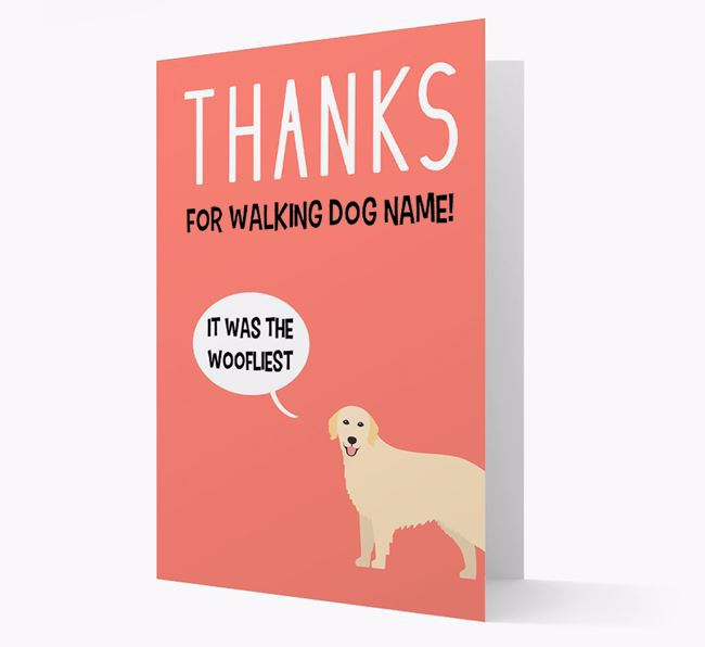 'Thanks for the Woofliest Walks' Card with Golden Retriever Icon