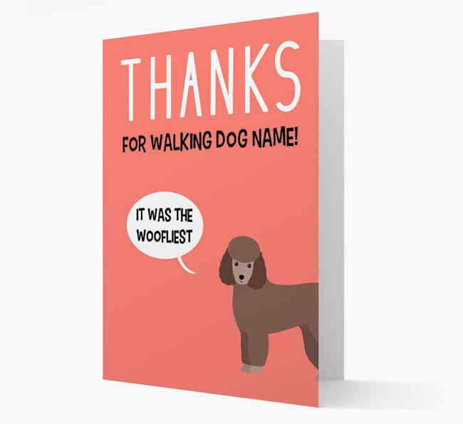 'Thanks for the Woofliest Walks' Card with Miniature Poodle Icon