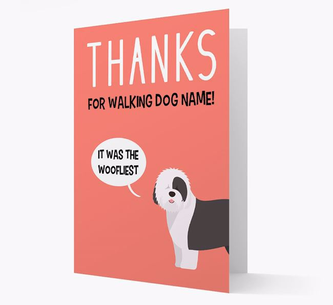 'Thanks for the Woofliest Walks' Card with Old English Sheepdog Icon