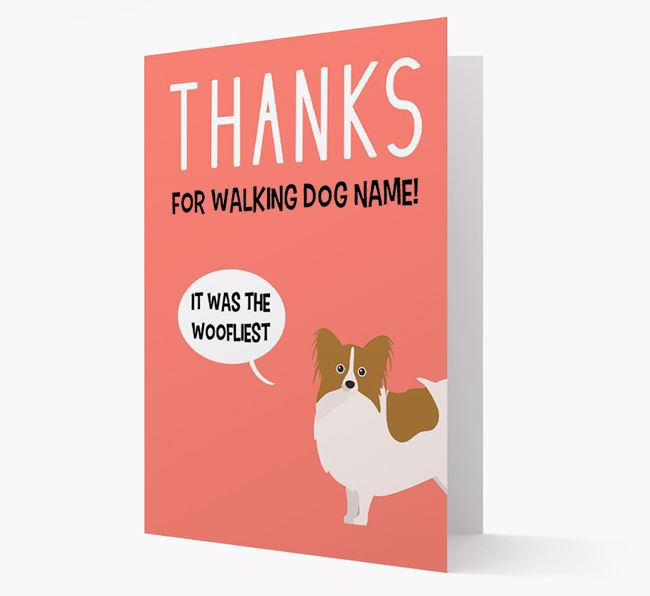 'Thanks for the Woofliest Walks' Card with Papillon Icon