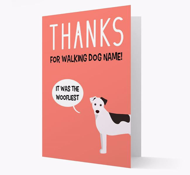 'Thanks for the Woofliest Walks' Card with Parson Russell Terrier Icon