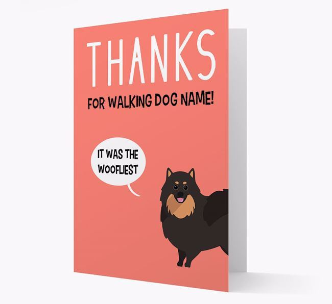 'Thanks for the Woofliest Walks' Card with Pomeranian Icon