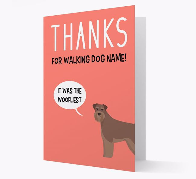 'Thanks for the Woofliest Walks' Card with Schnauzer Icon