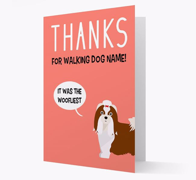 'Thanks for the Woofliest Walks' Card with Shih Tzu Icon