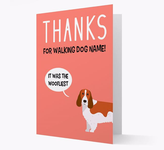 'Thanks for the Woofliest Walks' Card with Springer Spaniel Icon