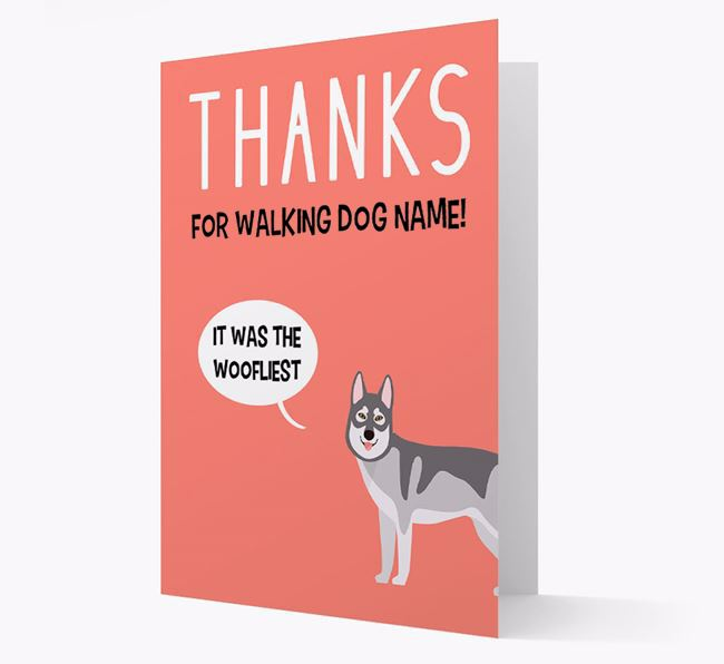 'Thanks for the Woofliest Walks' Card with Tamaskan Icon