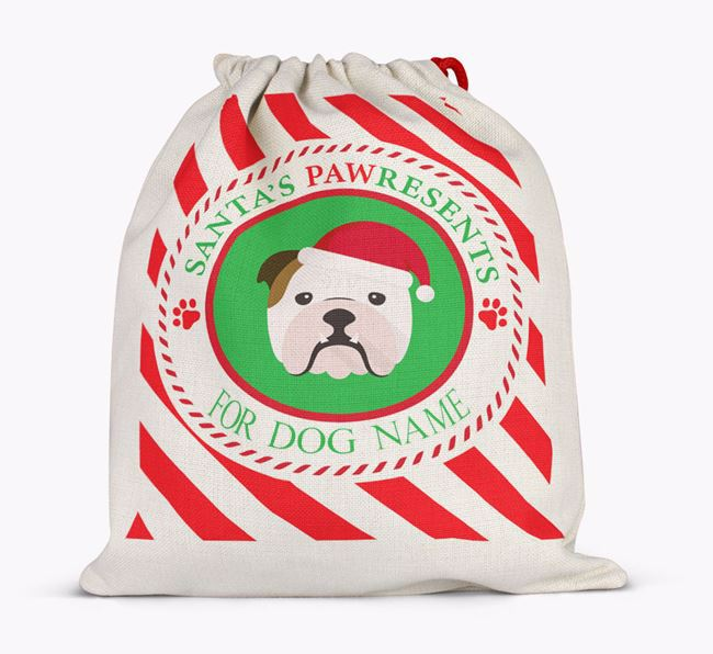 Santa Sack 'Pawresents' - Personalised for Your English Bulldog