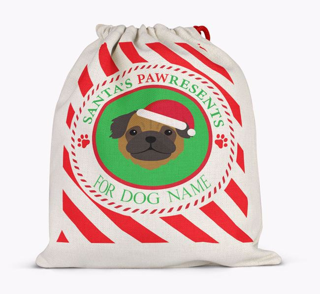 Santa Sack 'Pawresents' - Personalised for Your Pug