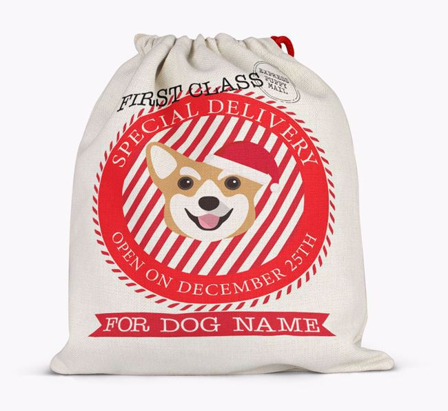 Santa Sack 'Special Delivery' - Personalised for Your Corgi