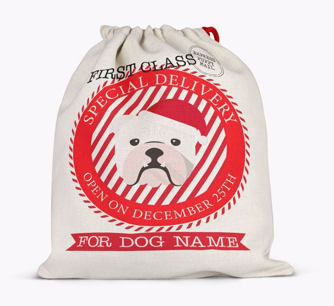 Santa Sack 'Special Delivery' - Personalised for Your English Bulldog