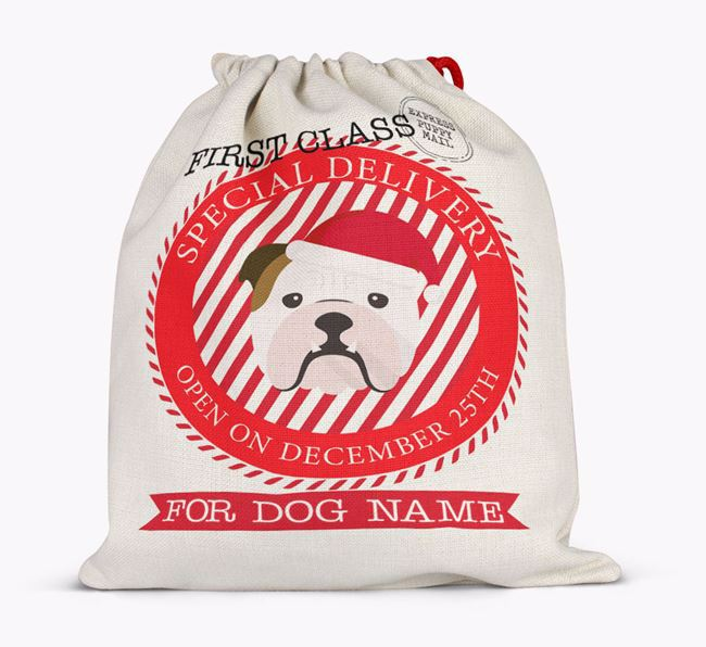 'Special Delivery' - Personalized Santa Sack for your English Bulldog