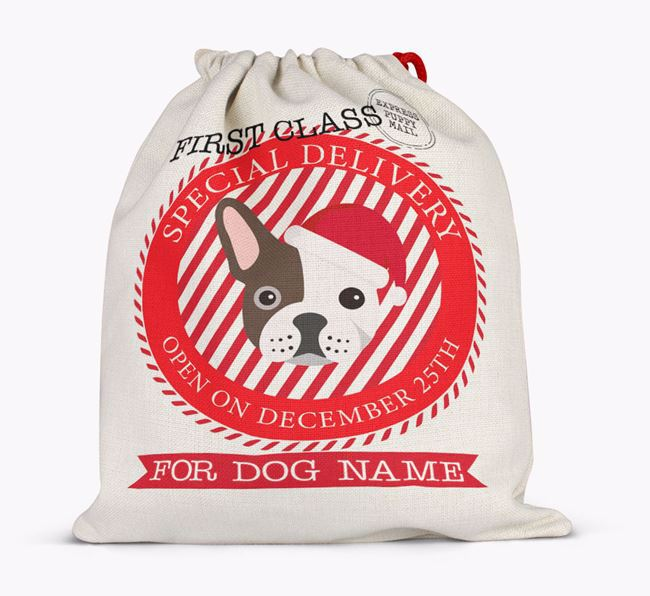 'Special Delivery' - Personalized Santa Sack for your French Bulldog