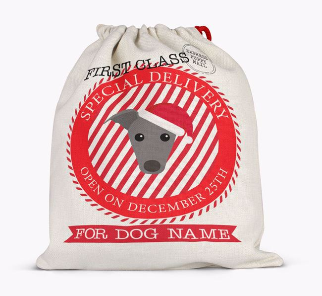 'Special Delivery' - Personalized Santa Sack for your Greyhound