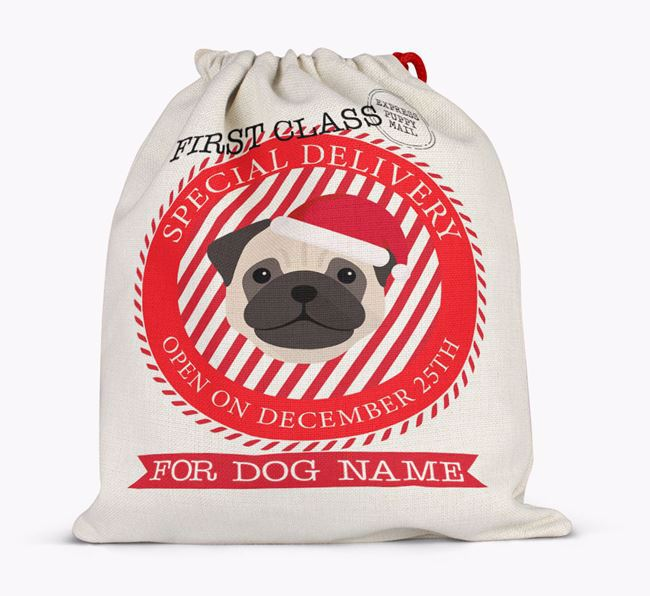 Santa Sack 'Special Delivery' - Personalised for Your Pug