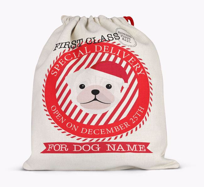 'Special Delivery' - Personalized Santa Sack for your Pug