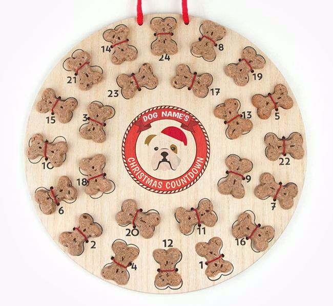 Advent Calendar 'Your Dog's Christmas Countdown' - Personalised with your English Bulldog