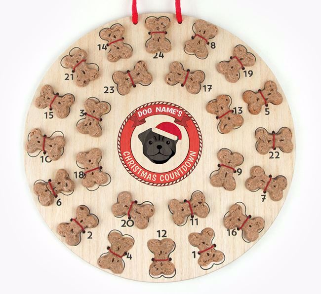 Advent Calendar 'Your Dog's Christmas Countdown' - Personalised with your Pug