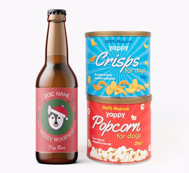 Photo Upload 'Merry Woofmas Your Dog' - Personalised Alaskan Klee Kai Beer Bundle with Crisps & Popcorn
