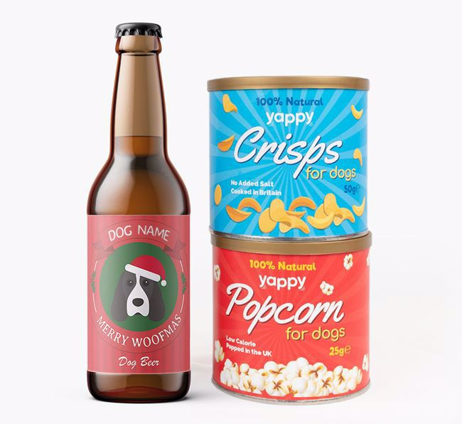 Photo Upload 'Merry Woofmas Your Dog' - Personalised Cocker Spaniel Beer Bundle with Crisps & Popcorn