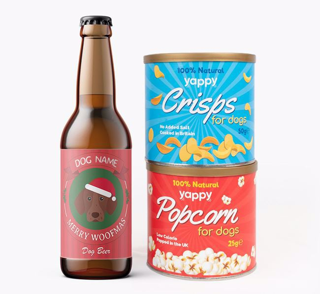 Photo Upload 'Merry Woofmas Your Dog' - Personalised German Shorthaired Pointer Beer Bundle with Crisps & Popcorn