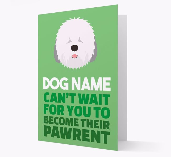 'Happy Anniversary Future Dog Parent' Card with Old English Sheepdog Icon