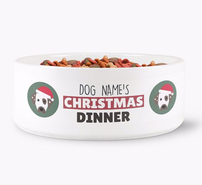 'Your Dog's Christmas Dinner' - Personalised Dog Bowl for your Dalmatian