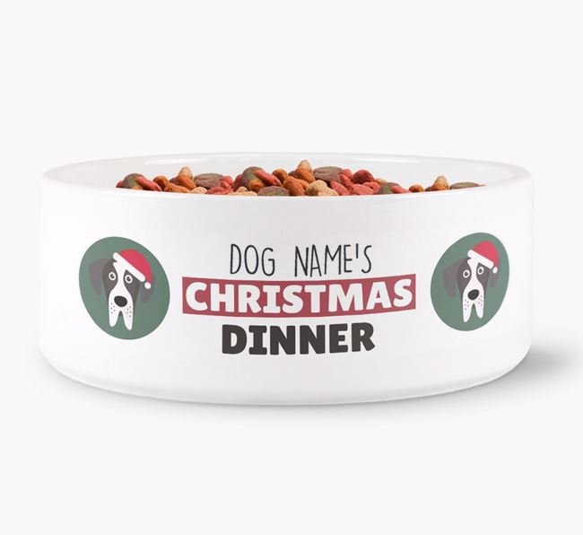 'Your Dog's Christmas Dinner' - Personalised Dog Bowl for your Great Dane