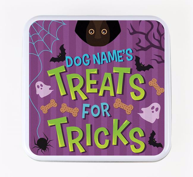 Personalised 'Treats For Tricks' Square Treat Tin with Bassador Icon