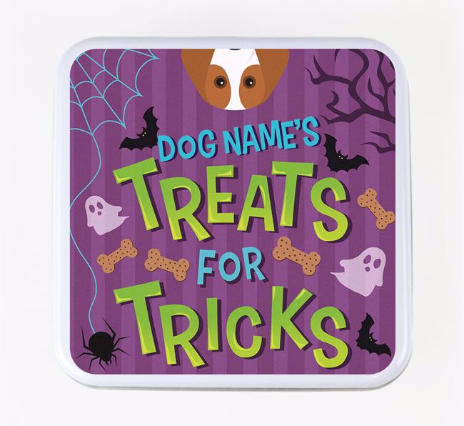 Personalised 'Treats For Tricks' Square Treat Tin with Beagle Icon