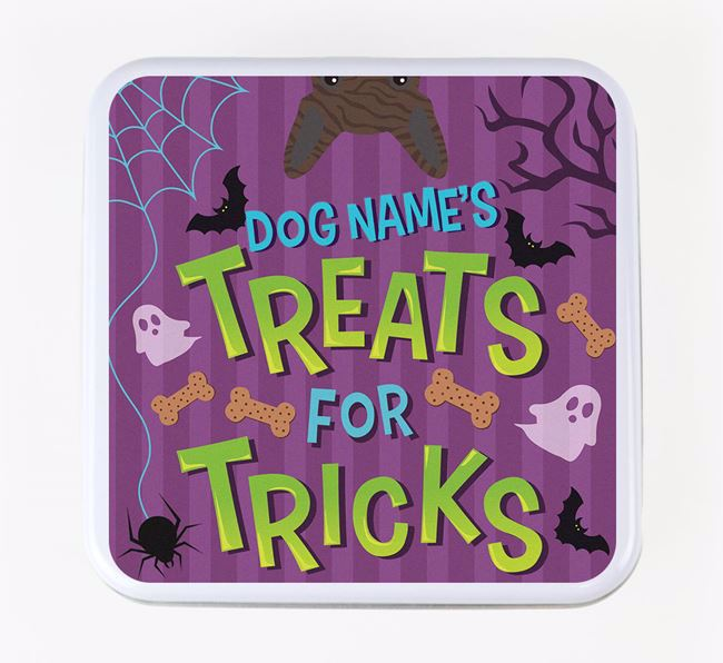 Personalised 'Treats For Tricks' Square Treat Tin with French Bulldog Icon