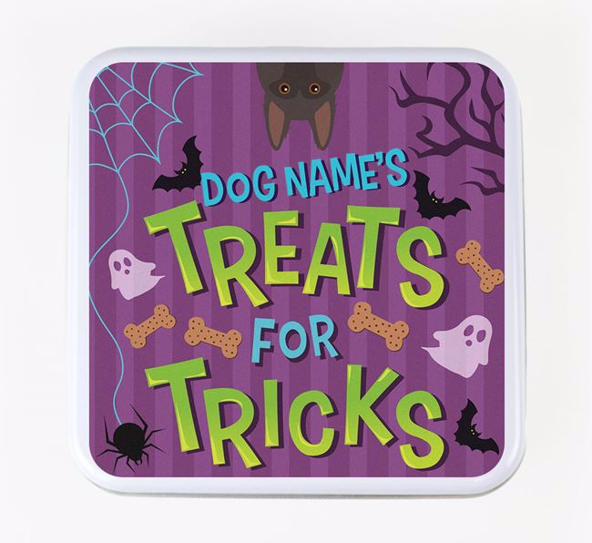 Personalised 'Treats For Tricks' Square Treat Tin with German Shepherd Icon