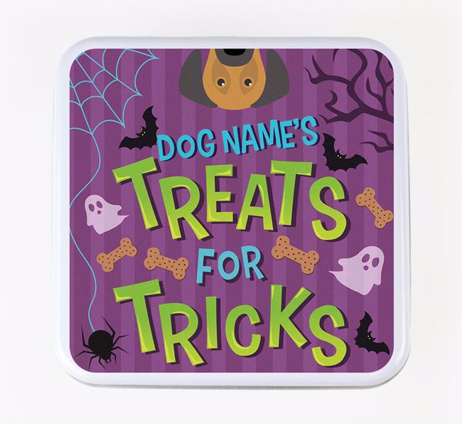 Personalised 'Treats For Tricks' Square Treat Tin with Dog Icon