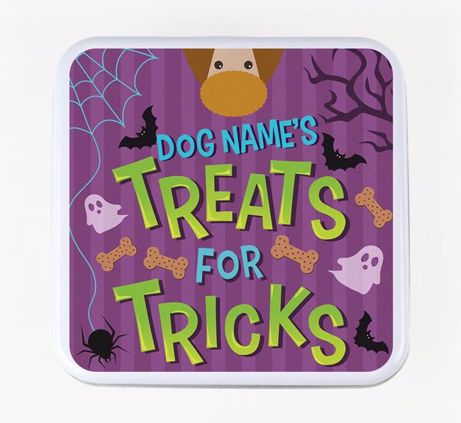 Personalised 'Treats For Tricks' Square Treat Tin with Poodle Icon