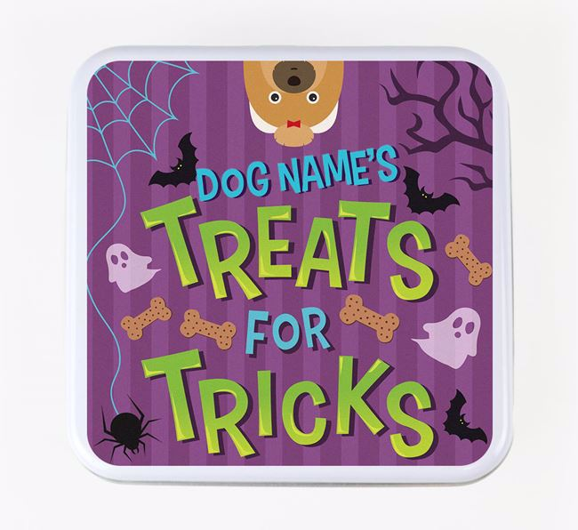 Personalised 'Treats For Tricks' Square Treat Tin with Shih Tzu Icon