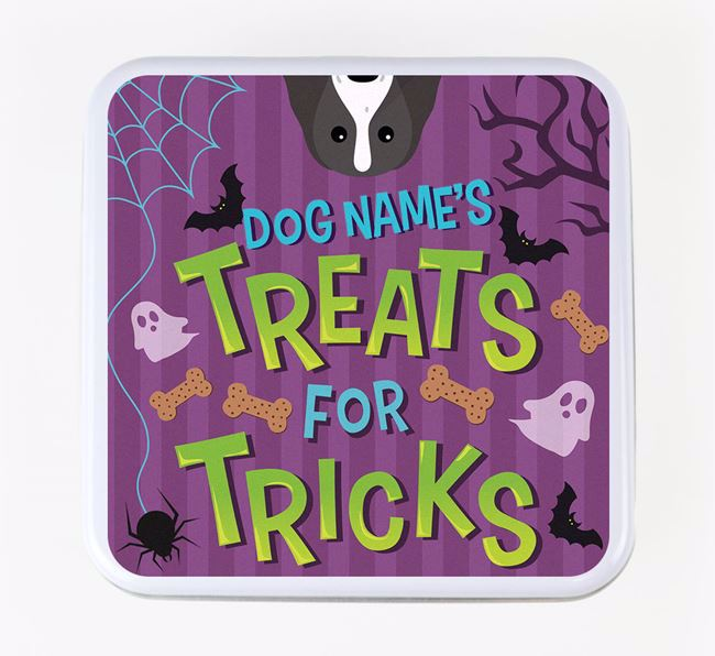 Personalised 'Treats For Tricks' Square Treat Tin with Springer Spaniel Icon