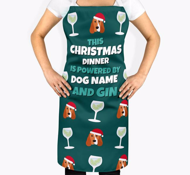 'This Christmas Dinner is Powered by Gin' - Personalised Cocker Spaniel Apron