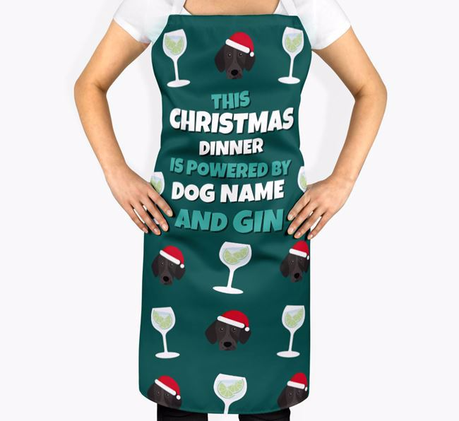 'This Christmas Dinner is Powered by Gin' - Personalised German Shorthaired Pointer Apron