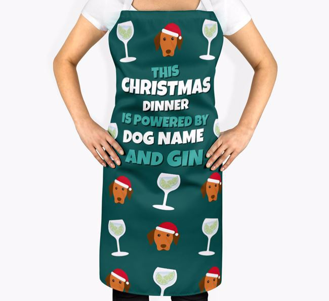 'This Christmas Dinner is Powered by Gin' Apron with Dog Icons