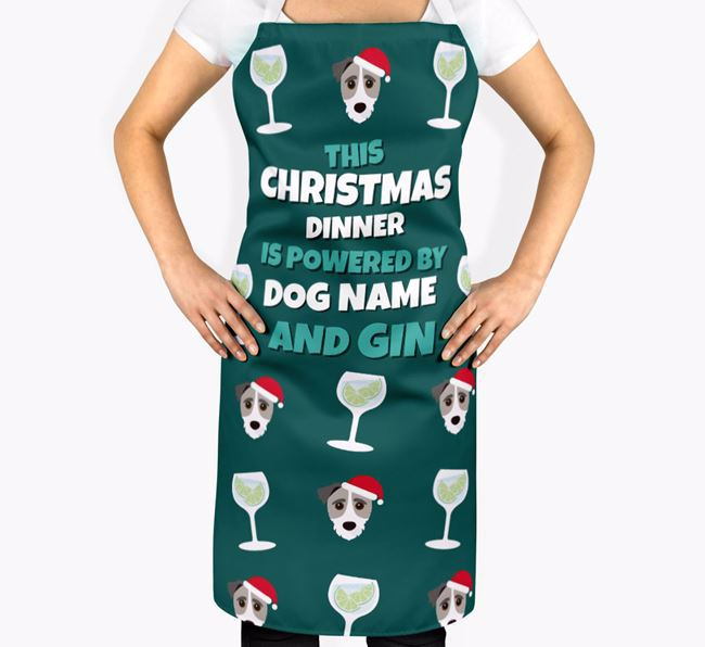 'This Christmas Dinner is Powered by Gin' Apron with Jack-A-Poo Icons