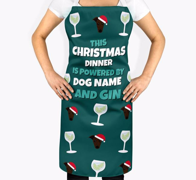 'This Christmas Dinner is Powered by Gin' Apron with Whippet Icons