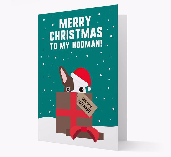 'Merry Christmas to my Hooman' - Personalized French Bulldog Christmas Card