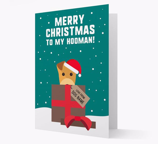 'Merry Christmas to my Hooman' - Personalized Lakeland Terrier Christmas Card