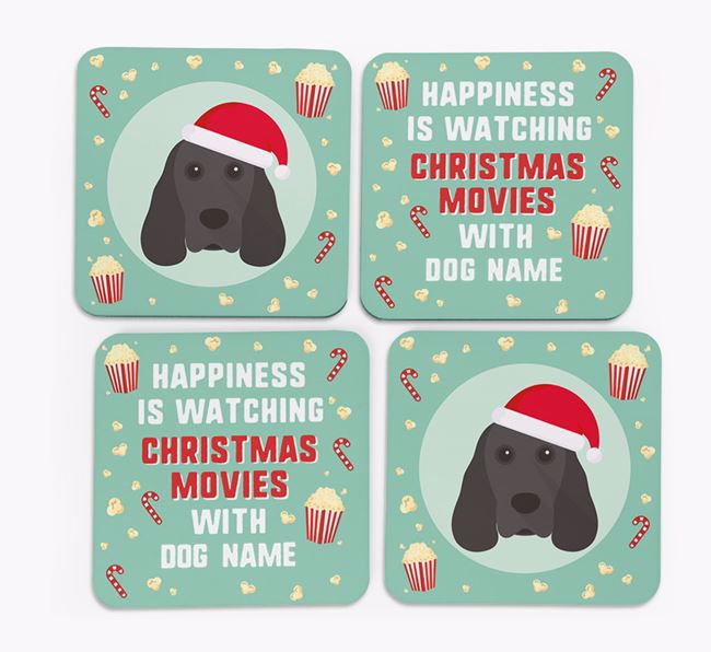 'Christmas Movies with Your Dog' - Personalised Cocker Spaniel Coasters