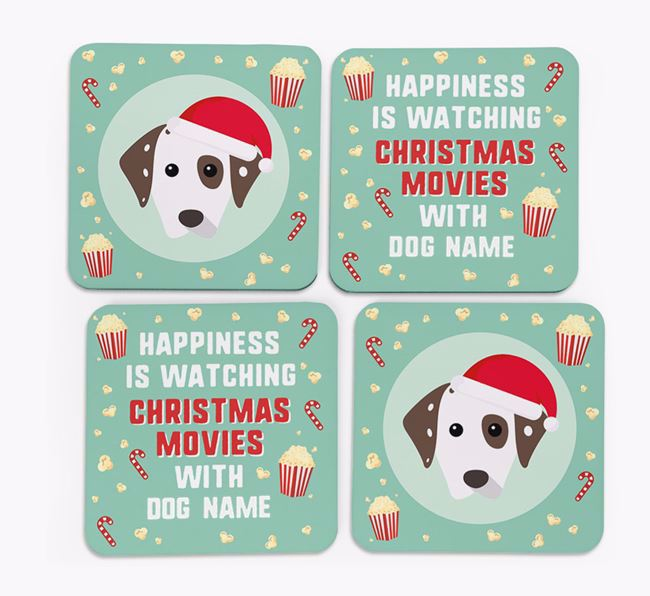 'Christmas Movies with Your Dog' - Personalised Dalmatian Coasters