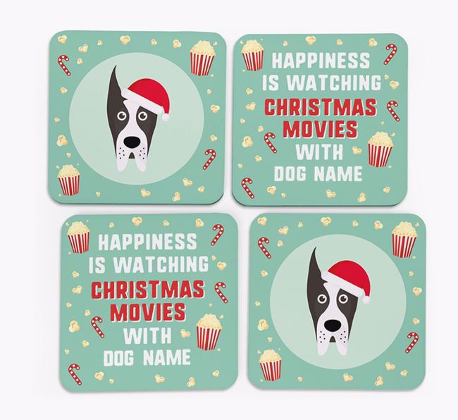 'Christmas Movies with Your Dog' - Personalised Great Dane Coasters