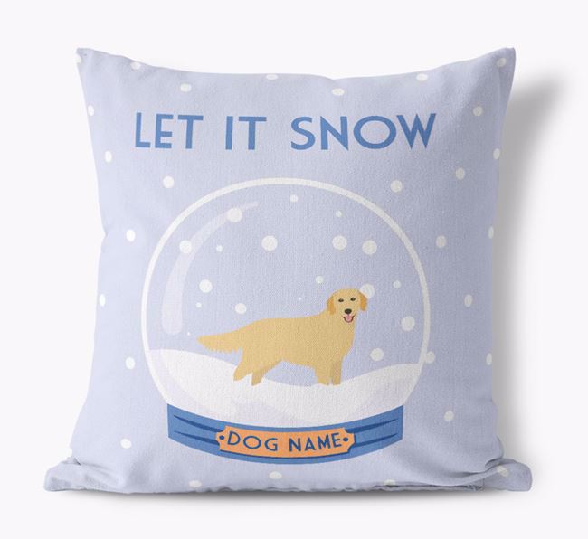 'Let it Snow!' - Personalised Golden Retriever Canvas Cushion