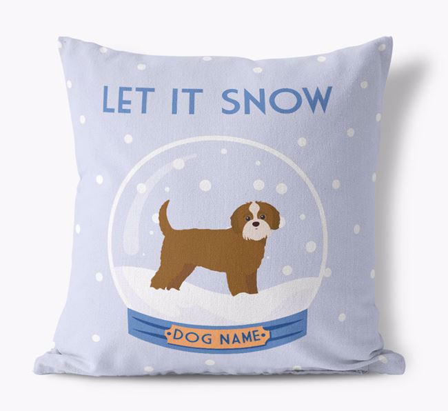 'Let it Snow!' - Personalized Jack-A-Poo Canvas Cushion