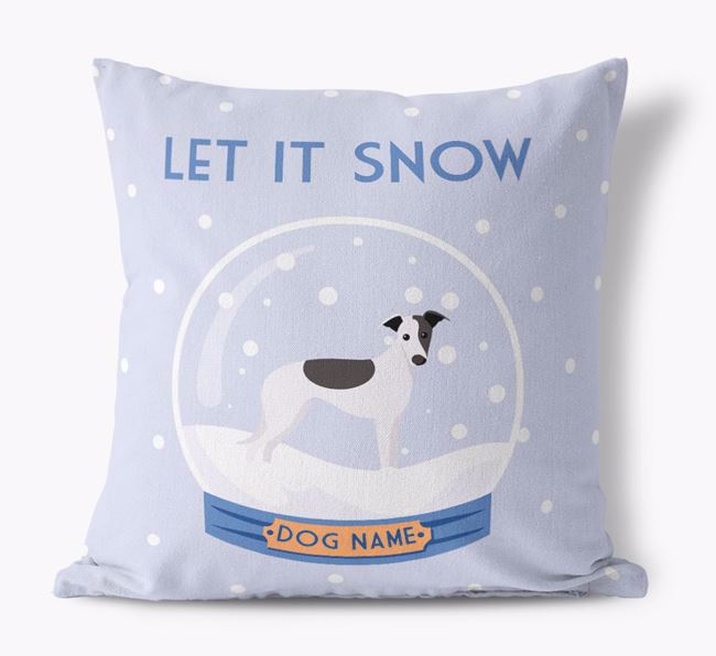 'Let it Snow!' - Personalized Whippet Canvas Cushion